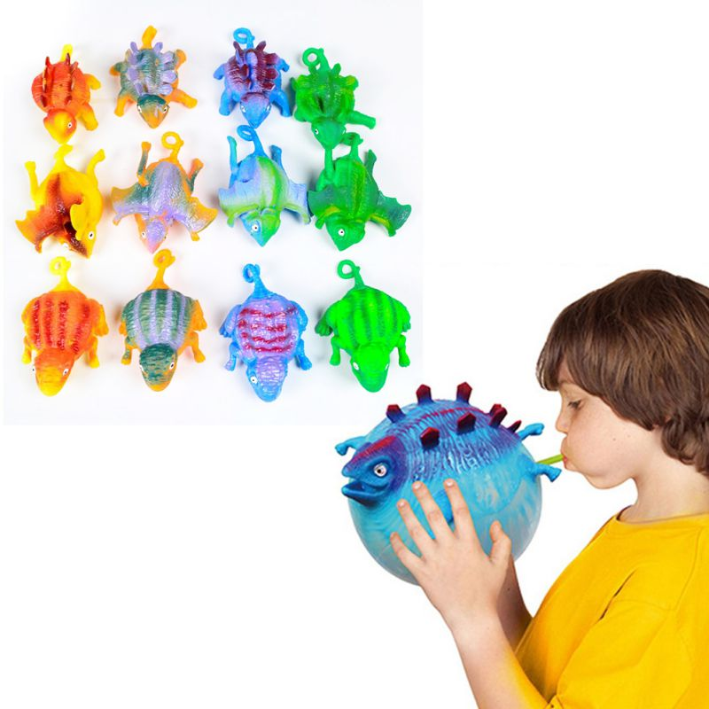 TPR Material Funny Kids Toy  Anxiety Stress Relief Children Blowing Random Animals Toys Dinosaur Inflatable Balloon Squeeze Ball