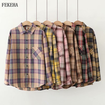 2020 Plaid Shirts Women Top And Blouses Long Sleeve Oversized Cotton Ladies Casual Blusas One Pocket Loose Female Checked Shirt 1