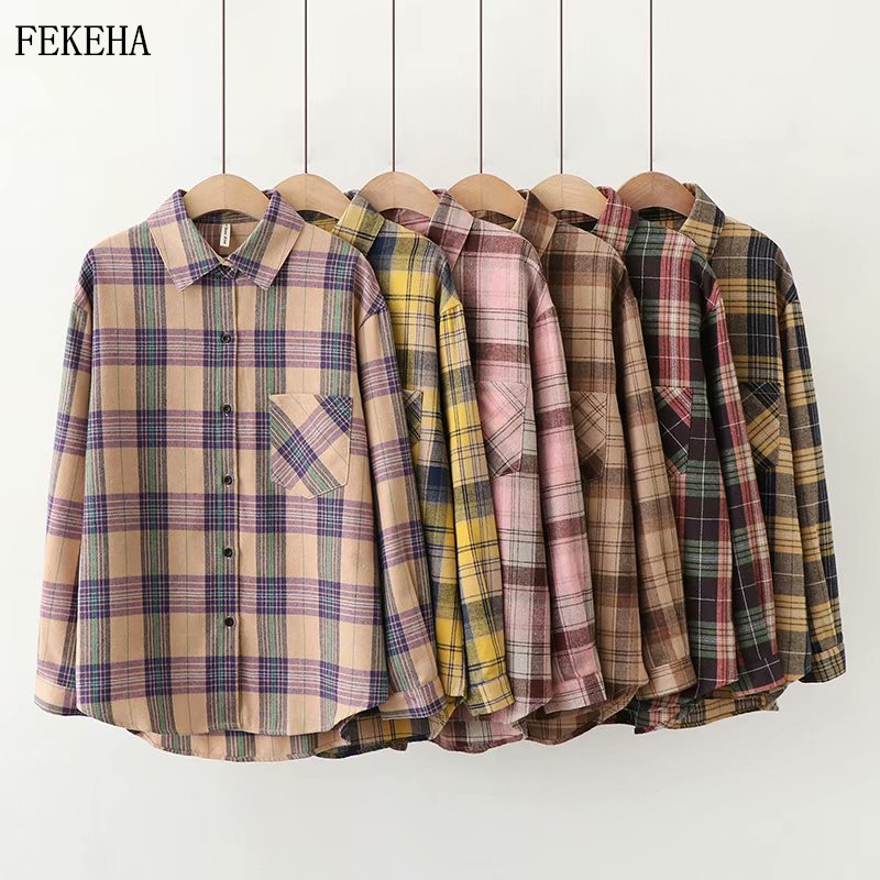 2020 Plaid Shirts Women Top And Blouses Long Sleeve Oversized Cotton Ladies Casual Blusas One Pocket Loose Female Checked Shirt(China)