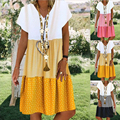 New Style Boho Dress Womern Causal Loose Midi Dress Print Vintage Robe Dress Plus Size Fashion Beach Dress Clothing