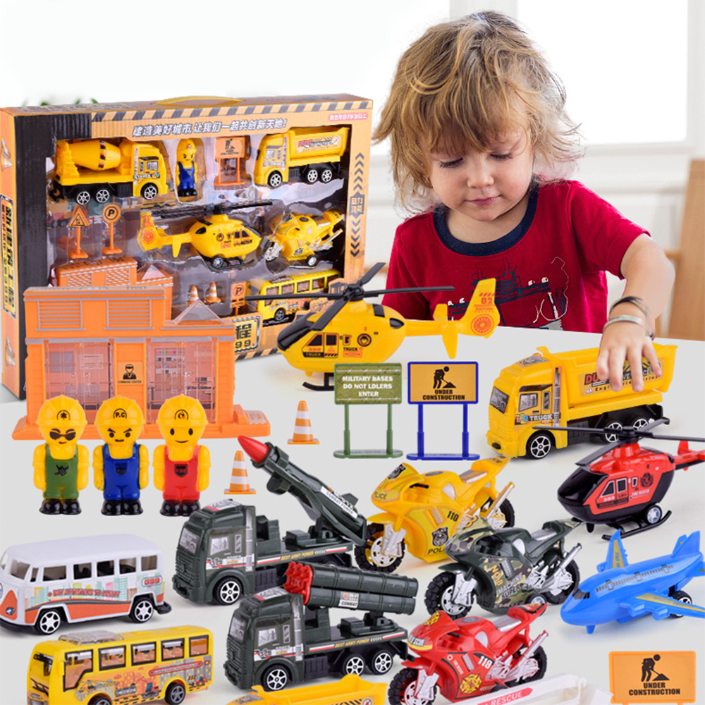 8 Kinds of Pull Back Cars Plastic Simulation Toys Firefighter Airplane Urban Transport Set Early Educational Gifts for Chilren
