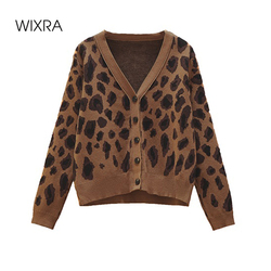 Wixra 2021 New Sweater Autumn Leopard Cardigan Women Casual Loose Female Knitted Open Stitch Jumpers Street Wear