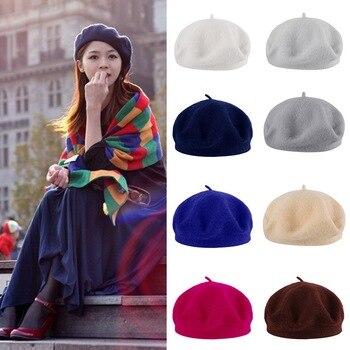 French solid color casual retro ladies hat beret flat top women's wool warm winter beret hat brim ha