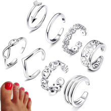 8pcs Summer Beach Vacation Knuckle Foot Ring Set Open Toe Rings for Women Girls Finger Adjustable Jewellery Wholesale Gifts