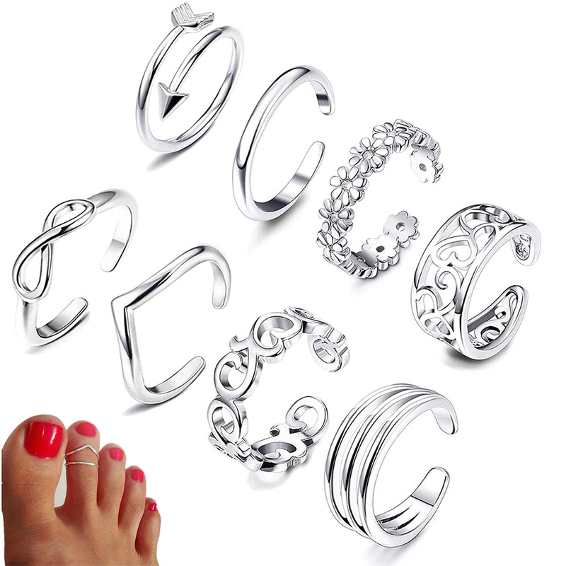 8pcs Summer Beach Vacation Knuckle Foot Ring Set Open Toe Rings for Women Girls Finger Ring Adjustable Jewellery Wholesale Gifts