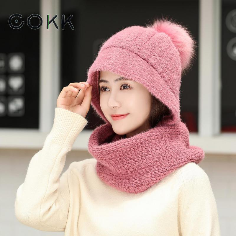 COKK Rabbit Fur Hat And Scarf Woman Winter Sweet Thicker Warm Ladies Hats & Scarf Velvet Thickening Set Ear Hat Female Windproof