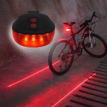 Светодиодный фонарь для велосипеда WasaFire, сигнальный светильник, 5 светодиодный+ 2 лазерных ночных горного велосипеда, задний светильник, задний светильник, светильник для велосипеда