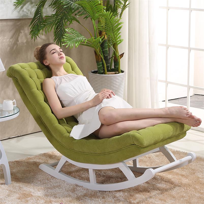 Design moderne Chaise longue à bascule canapé-lit tissu bois pour meubles de maison canapés salon adulte luxe Chaise à bascule Chaise