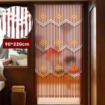 31 Line Wave Handmade Fly Screen Wooden Beads Curtain 90x220cm Wooden Door Curtain Blinds For Porch Bedroom Living Room Divider 1