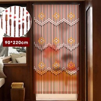 31 Line Wave Handmade Fly Screen Wooden Beads Curtain 90x220cm Wooden Door Curtain Blinds For Porch Bedroom Living Room Divider