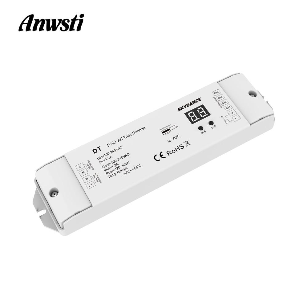 Triac DALI Dimmer 220V 110V 230V AC 1 Channel 1.2A 288W Numeric Display For LED Lamp Halogen Lights DT DALI AC Triac LED Dimmer