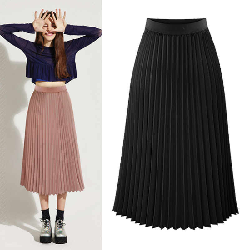 Europe And America 2019 Spring And Summer WOMEN'S Dress New Style High-waisted Skirt Pleated Skirt