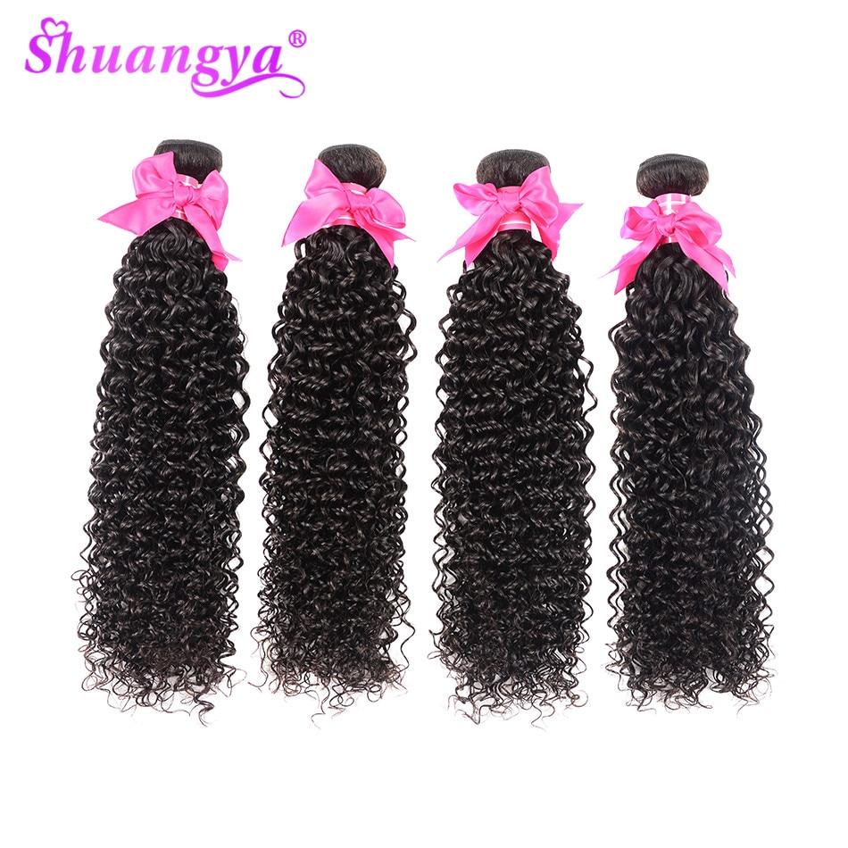 Shuangya 髪マレーシア変態カーリーバンドル閉鎖 100% 人間の髪のバンドル閉鎖 Remy 毛 3/4 バンドルと閉鎖  グループ上の ヘアエクステンション & ウィッグ からの 3/4 バンドル留め具付き の中 3