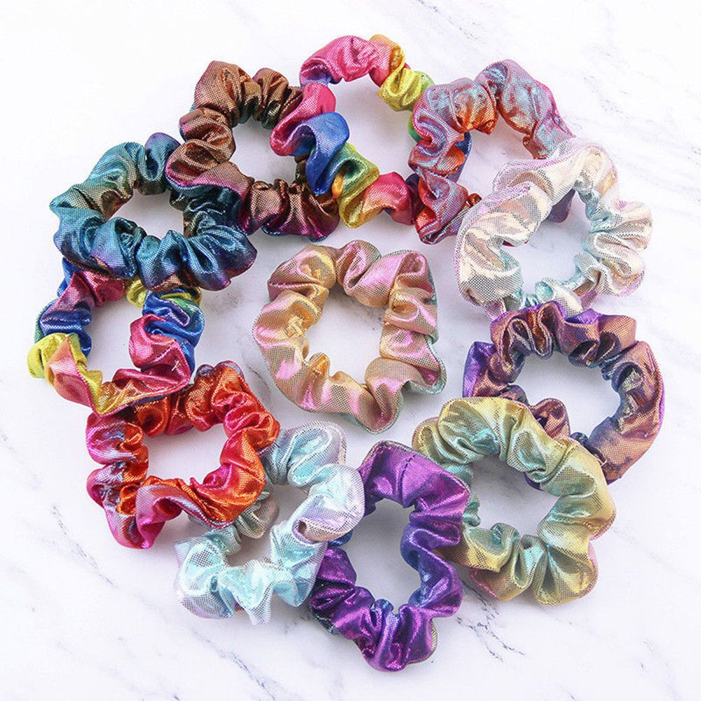 2019 Hot Sale New Arrival Korean Fashion Women Elastic Hair Rope Ring Tie Scrunchie Ponytail Holder Shiny Rainbow Hair Band Gift