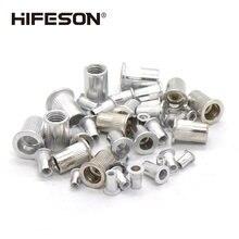 HIFESON 50 adet/grup alüminyum alaşımlı perçin somun eklemek düz kafa dişli somun sert kap perçin perçin somun tabancası araçları