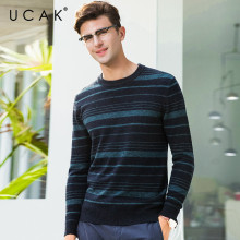 UCAK Brand Pure Merino Wool Sweater Men Fashion Striped Pull Homme Autumn Winter Thick Warm Cashmere Sweaters Pullover Men U3068 coodrony brand pure merino wool sweater men classic v neck pull homme autumn winter thick warm soft cashmere pullover men 93023
