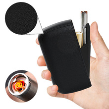 PU Leather Cigarette Case Box With Portable USB Charging Lighter 10pcs Cigarette Storage Holder Container Electric Turbo Lighter