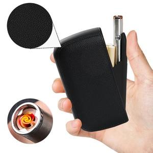 Image 1 - עור מפוצל קופסא סיגריות תיבת עם נייד Usb טעינת מצית 10pcs סיגריות אחסון מחזיק מיכל טורבו חשמלי מצית