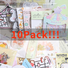 10 Packs/Set Cute Cartoon Paper Sticker Bag Kawaii Diy Diary Planner Decoration Sticker Album Journal Scrapbooking Lable Sticker