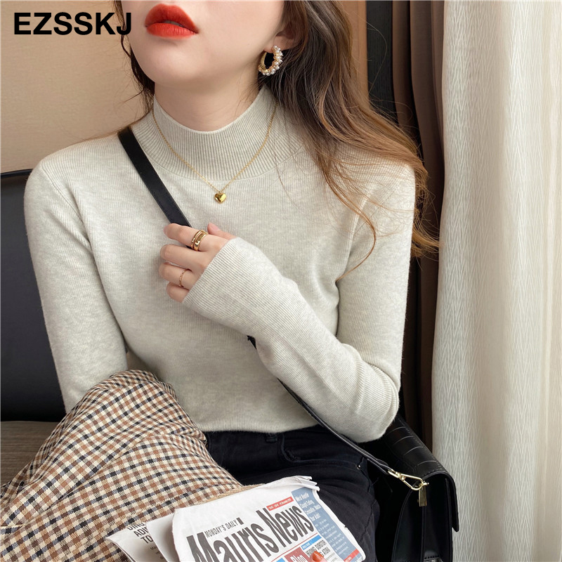 Basic Turtleneck Slim Sweater Pullover Women Autumn winter Casual long Sleeve Sweater For women Female Chic Jumpers top 5