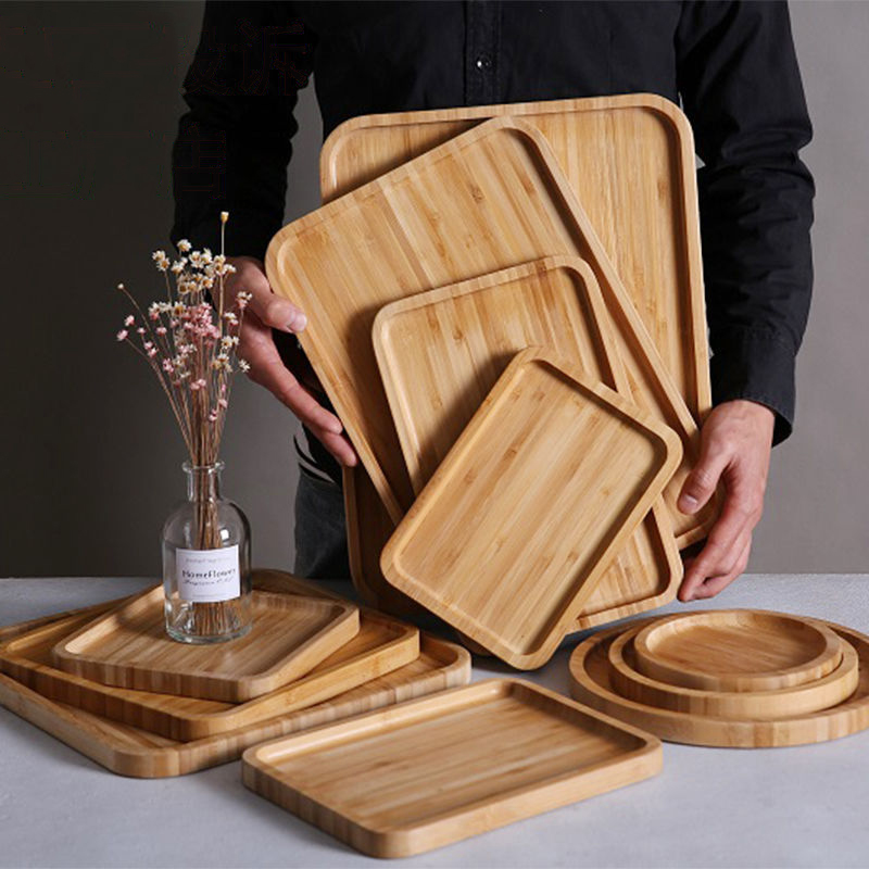 Wooden Bamboo Serving Tray Tea Cup Saucer Trays Fruit Plate Storage Pallet Plate Decoration Japanese Food Rectangular Plate