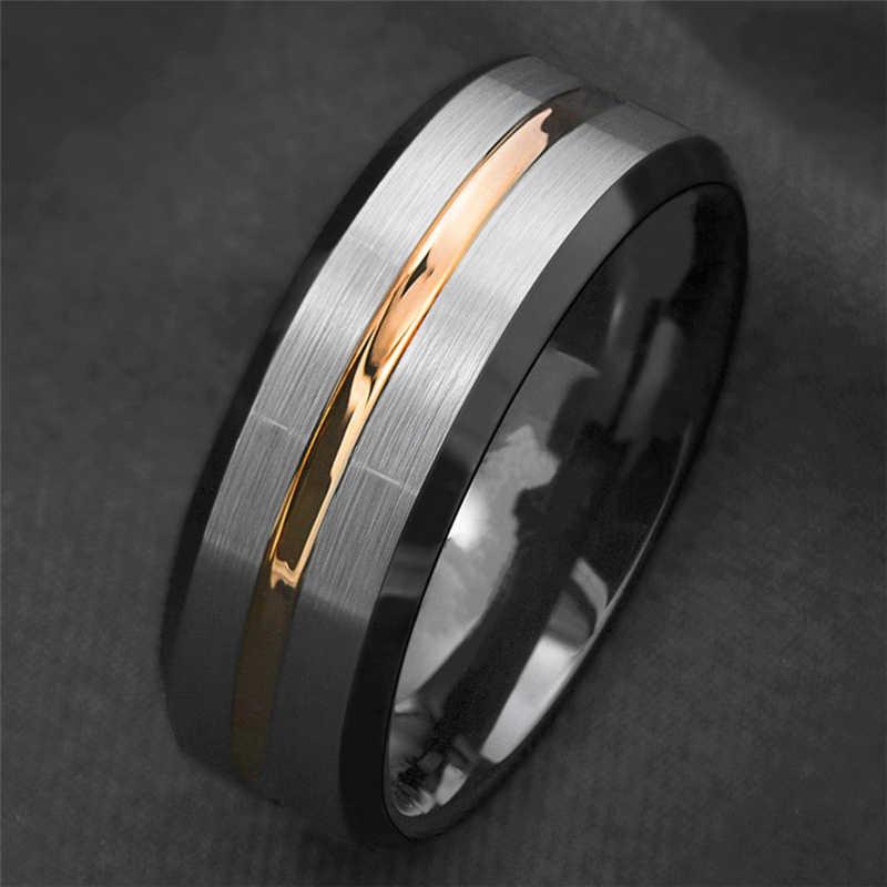 ไทเทเนียมเหล็กแหวนเงินสีดำสาย Gold Stripe แหวนมือ Retro ธุรกิจผู้ชายเครื่องประดับอุปกรณ์เสริมของขวัญ