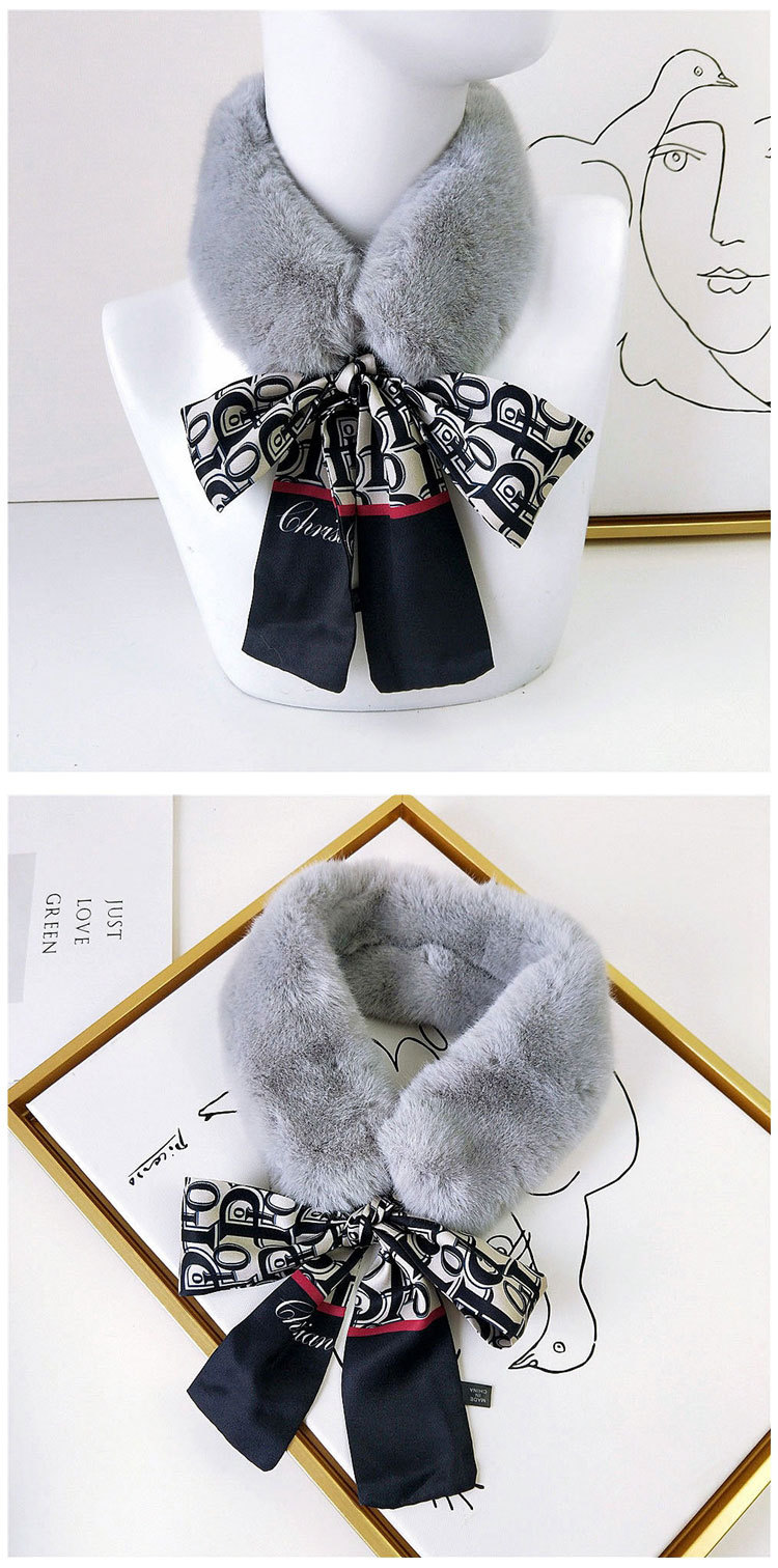 H2f03a91f8a914564a4631fd3a42d1fd1i - New Long Skinny Silk Letter Leopard Printed Hair Head Scarf with Winter Warm Faux Fur Neck Collar Scarves for Women Foulard