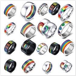 Модное Стильное мужское и женское Радужное красочное ЛГБТ-Кольцо из нержавеющей стали обручальное кольцо Lebian & геев