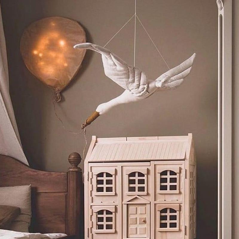 Cotton Line Wall Hanging Swan Plush Stuffed Doll Nursery Room Pendant Home Bedroom Kids Room Decoration Hanging Ornament