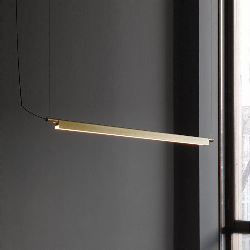 Post-nowoczesne proste biurowe lampy wiszące luksusowa jadalnia restauracja kuchnia lampy wiszące osobowość taśma aluminiowa lampa LED