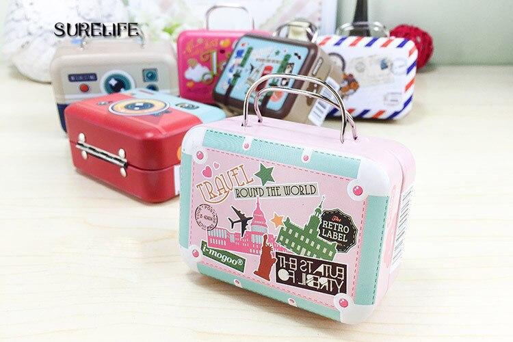 8 pièces Europe Type valise vintage forme bonbons boîte de rangement faveur de mariage boîte en fer blanc câble organisateur conteneur ménage
