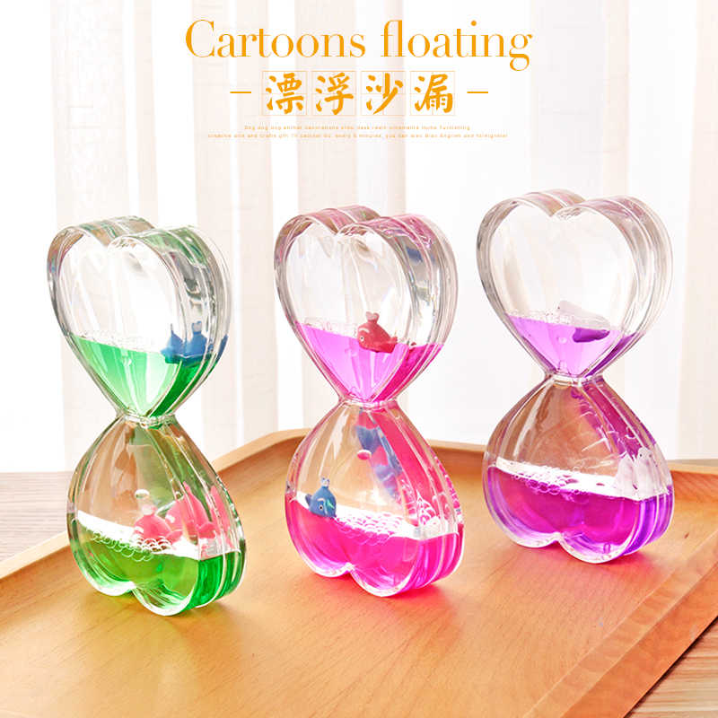 Creative floating cartoon small animal water oil drop hourglass time timer  home office bedroom decoration children birthday gift
