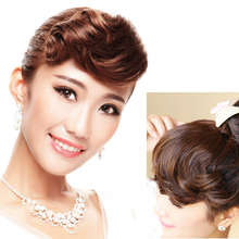 Buqi Clip on Curly Bangs Black Fringe Hair Extensions Synthe