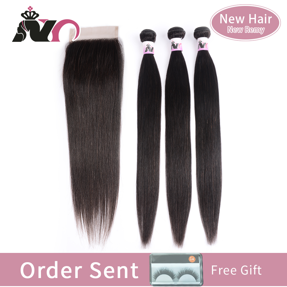 NY Remy Hair Bundles With Closure Malaysia Straight Hair Bundles With Closure Human Hair 3 Bundles With Closure Hair Extension