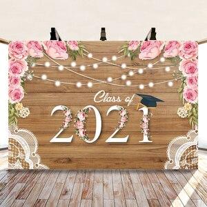 Image 5 - 2021 כיתת סיום עונה הראשון שווי רקע לצילום Congratul מסיבת עץ לוח פרח תמונה רקע שיחת וידאו