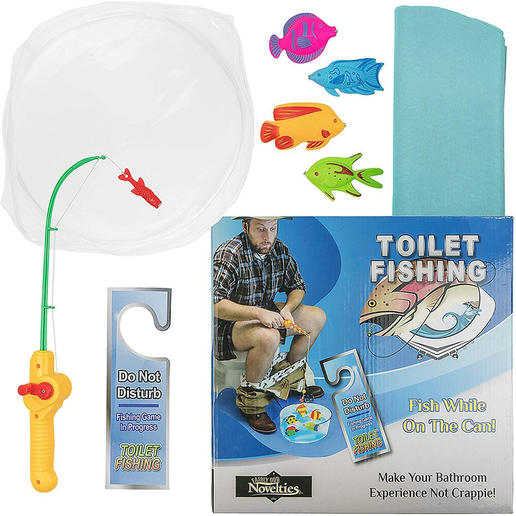 Mini Toilet Plastic Fishing Game Set Potty Time Fishing Practice Kit Novelty Gift Toys For Kids