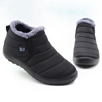 Męskie buty lekkie zimowe buty dla mężczyzn śniegowe buty wodoodporne zimowe obuwie Plus rozmiar 47 Slip On Unisex kostki zimowe buty tanie i dobre opinie HAJINK Buty śniegu CN (pochodzenie) Brak Tkane ANKLE Stałe Dla dorosłych Pluszowe Krótki pluszowe Flock Okrągły nosek