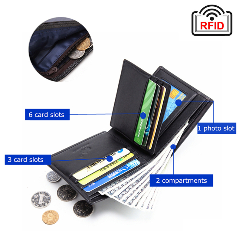 Genuine Leather RFID Wallet Male Multifunctional Card Holder Wallet 1