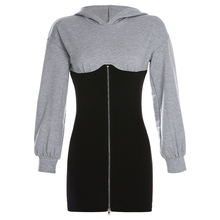 2019 Autumn Womens Patchwork Dress Hooded Slim-fitting With Hip Wrap Zipper Hoodie Skirt Long-sleeved Sweater Dresses