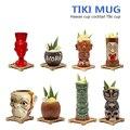 Гавайские кружки Tiki, Коктейльная чашка, пивная кружка для напитков, кружка для вина, керамические кружки Tiki, отлично подходят для коктейльны...