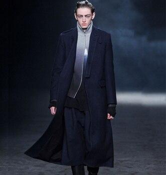 Men's woolen coat winter big-name new coat long business casual woolen coat Men Men Casual Jackets Men Long Coat Men Wool Coat Outwear & Jackets Trench Coat Color: Blue Size: 4XL