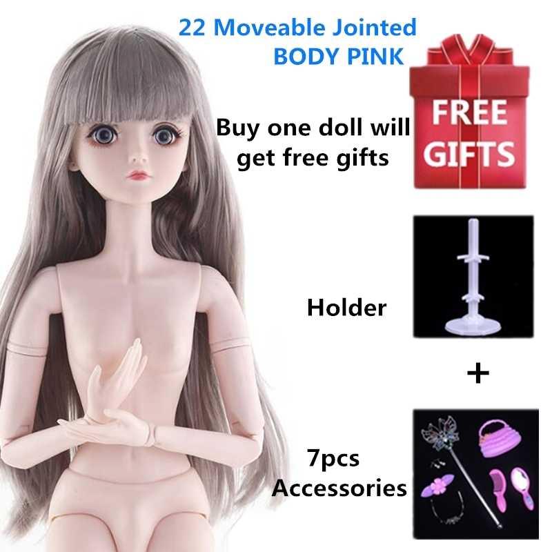 22 이동식 관절 60cm 1/3 BJD 인형 여성 누드 누드 여성 인형과 옷 패션 인형 장난감 소녀 선물