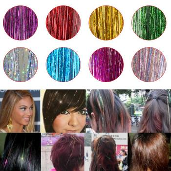 1 PC Hair Tinsel Sparkle Glitter Extensions Highlights False Hair Decoration Strands Party Hair Beauty Accessories