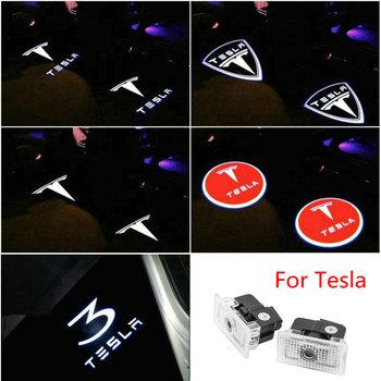 2 sztuk dla Tesla Model S 3 X Y lampa powitalna samochodów Led dzięki uprzejmości drzwi samochodu logo lampa kałuża projektor świateł światła cień duch światła tanie i dobre opinie Car Light Na to etykiety 3d carbon fiber vinyl 1inch cartoon Samochód światła Naklejki Jest dostarczana car door light
