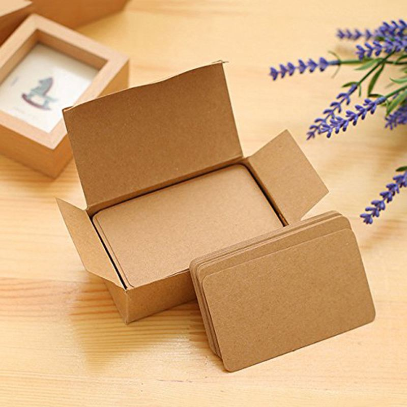 100 Memory Cards Blank DIY Graffiti Word Cards Net Small Memo Pad Blocks Memorandum Note Blank Word Cards (Khaki)