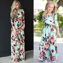 Летние одинаковые Платья с цветочным принтом для мамы и дочки;