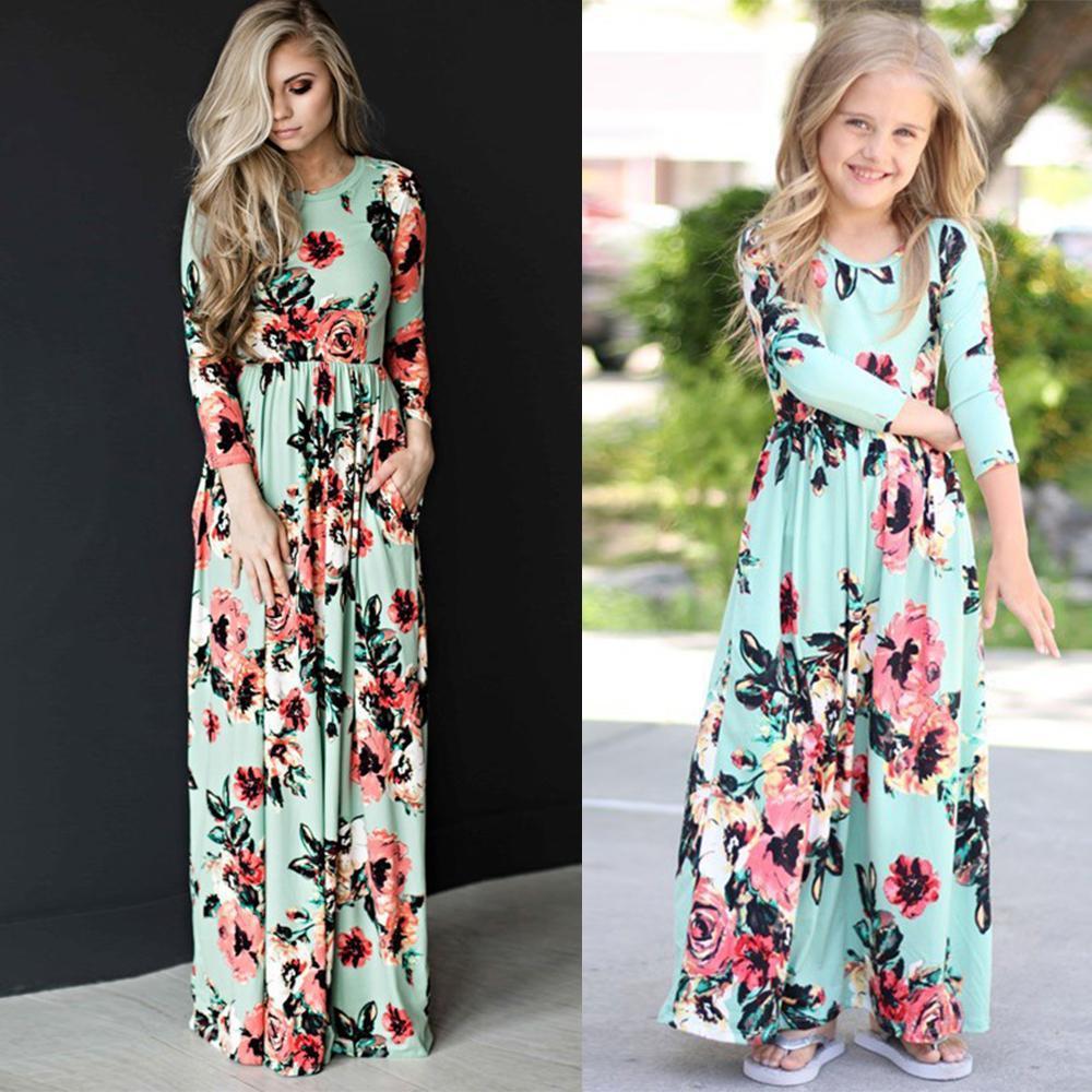 Летние одинаковые Платья с цветочным принтом для мамы и дочки; Одежда для мамы; Платье для мамы; Детская одежда; Одежда для мамы и дочки