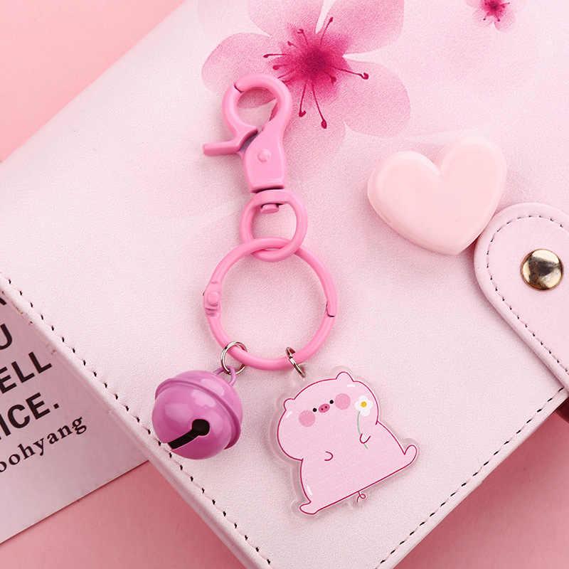 2019 novo bonito pvc rosa porco chaveiro para as mulheres animal jóias bonecas campainha bonito carro chaveiro presente melhor presente amigo