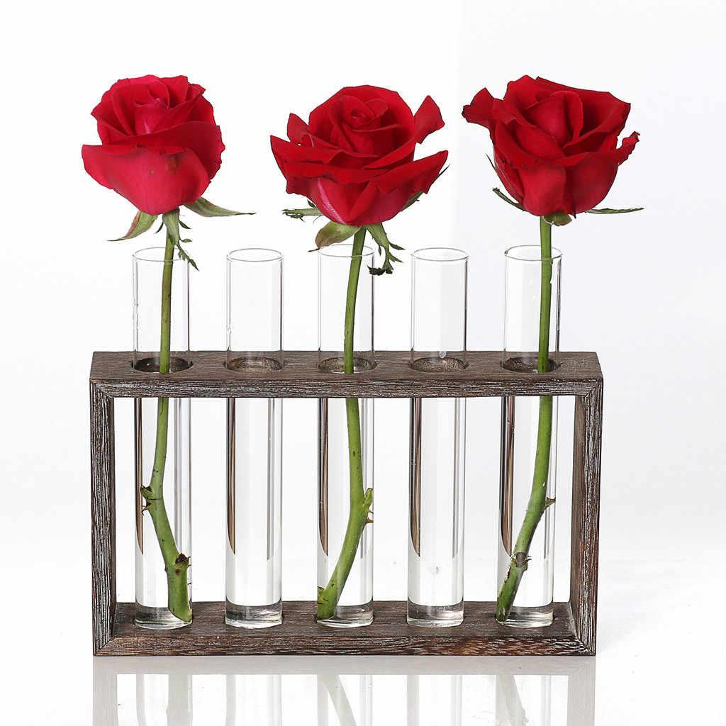 Стеклянная ваза гидропоники растения прозрачная ваза деревянная рамка Кофейня декор комнаты стол украшение ваза-террариум
