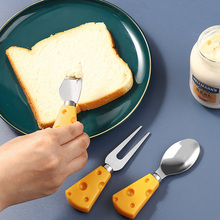 Creative Lovely Spoon Cartoon Stainless Steel Tableware Dessert Fruit Fork Cake Cheese Cutlery Cute Plastic Handle Cheese Shovel